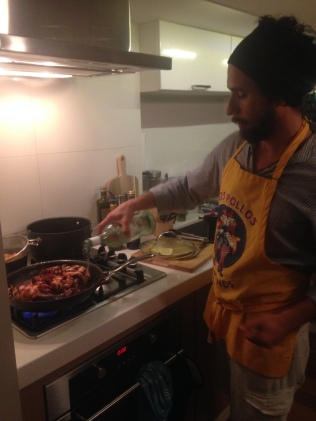Brazilian cook-up: Felipe working his magic